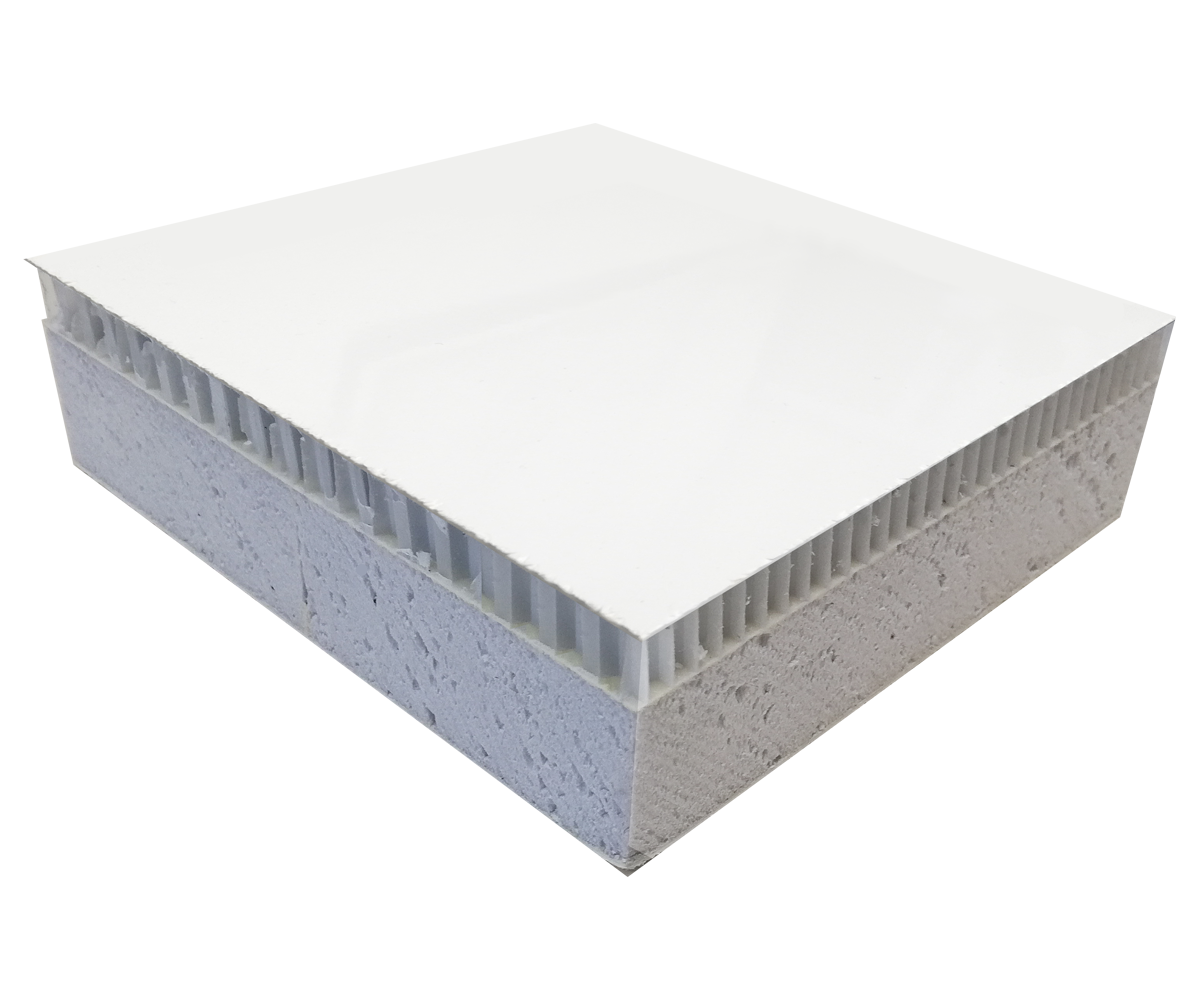 Panel tl. > 33 mm - potah laminát LAMILUX + jádro PUR / XPS tl. 20 mm + jádro PP voština tl. 10 mm + potah laminát LAMILUX